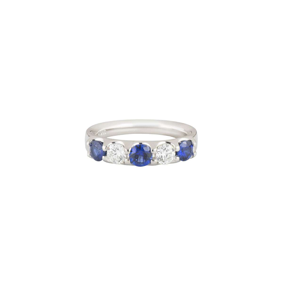 Platinum Sapphire and Diamond Half Eternity Ring